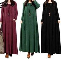 2018 New large size women's casual solid Color Long sleeve Turtleneck loose thin retro Maxi Dress elegant Plus Size M~5XL