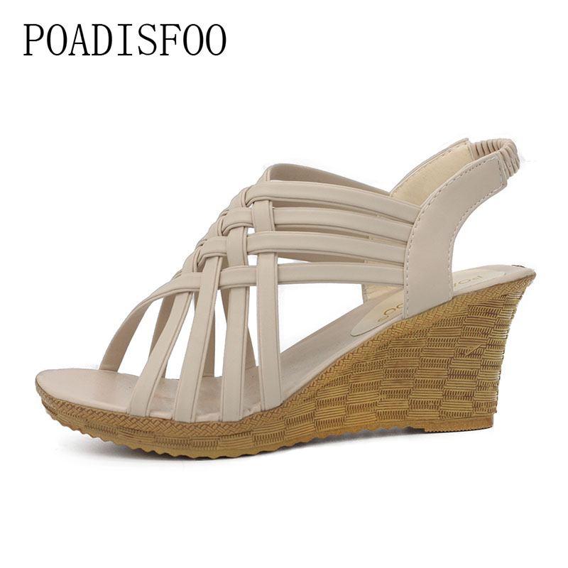 POADISFOO shoe woman shoes Bohemian Style Summer New Cross Straps Slope Sandals Shoes For The Elastic Female Shoes .XL-A08 poadisfoo woman shoes summer simple flat fish head sandals solid color elastic student shoes south korea sandals hykl 260