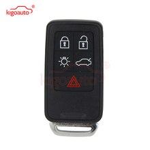 kigoauto smart keyless entry emergency key for volvo 5wk49266 xc60 xc70 v70 s80 car key blade uncut replacement KR55WK49264 Smart key 434Mhz 5 button for Volvo 2007 2008 2009 2010 2011 XC70 V70 XC60 S80 S60 kigoauto