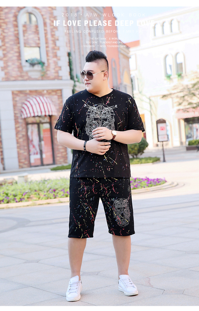 Plus Size 7XL  New Summer Casual T-Shirt Sets Cotton T shirt Men Short Sleeve O-Neck Tracksuits T Shirt Set Men