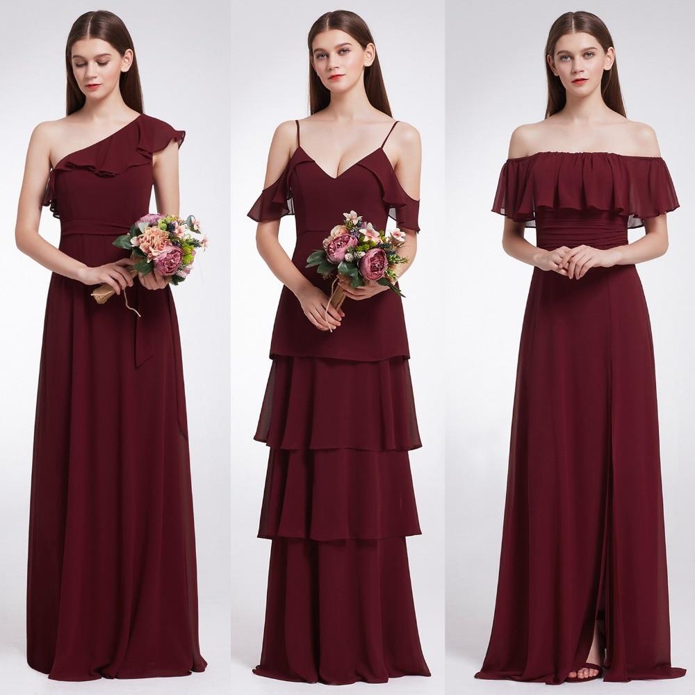 Ever Pretty Women Elegant Sexy Long Burgundy   Bridesmaid     Dresses   Chiffon V Neck Backless Formal Wedding Party   Bridesmaid     Dress