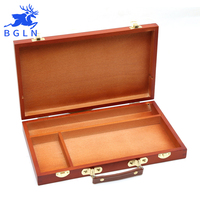 BGLN Solid Wood Portable Watercolor Painting Storage Box Multifunctional Watercolor Paint Suitcase Box Art Supplies
