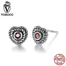 VOROCO Rope Winding Heart 925 Sterling Silver Oxidation Vintage Wire Red Zirconia Gothic Stud Earrings Woman Fine Jewelry VSE005