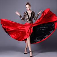 Spanish Dance Skirt Femal Black Red Latin Dance Dress Paso Doble Skirt Cloak Dance Dress Woman Performance Dance Skirt