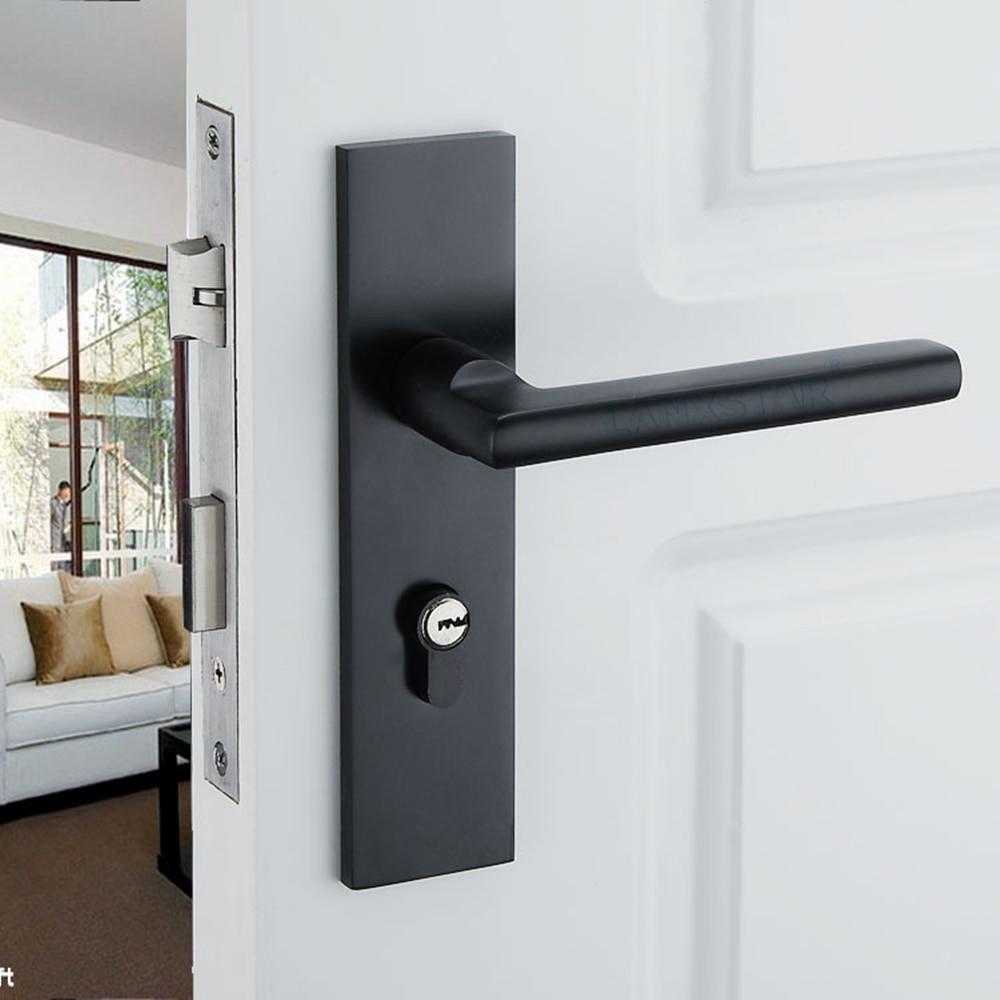 New Black Solid Space Aluminum Door Locks Continental Bedroom Minimalist Interior Door Handle Lock Cylinder Security & Compare Prices on Continental Door- Online Shopping/Buy Low Price ... Pezcame.Com