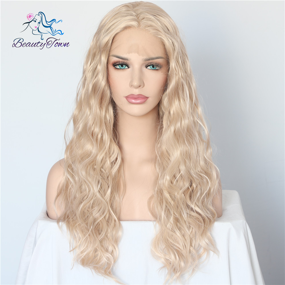 Ambitious Beautytown Beige Blonde Color Natural Wave Futura No Tangle Kanekalon Hair Women Wedding Party Present Synthetic Lace Front Wigs Less Expensive