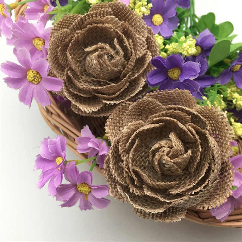 5 pcs * ชุด Burlap ดอกไม้ Rose Embellishments สำหรับงานแต่งงานตกแต่ง, อุปกรณ์เสริมผม, Scrapbooking หรืองานฝีมือ AA8096