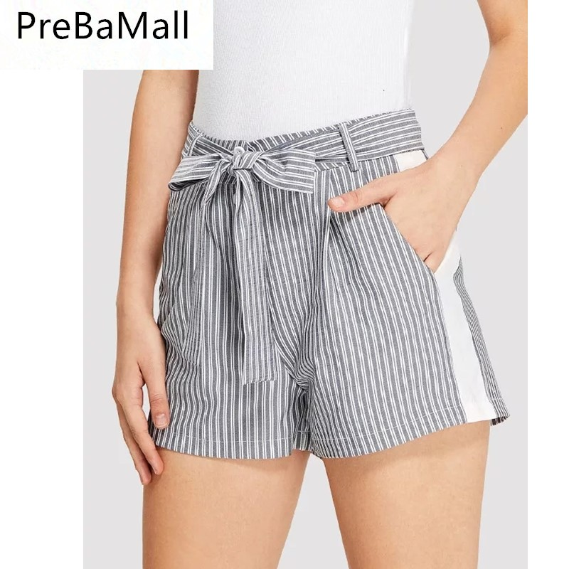 b95333536a 2019 New Style Striped Women Shorts Fashion Hot Ladies Sexy Summer Casual  Shorts High Waist Beach Bow Trouses C113