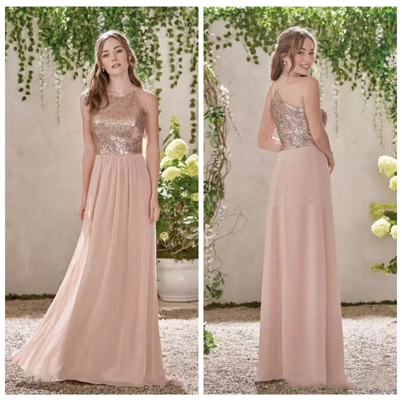 Buy cheap rose gold sequins top long for Pink and gold wedding dress