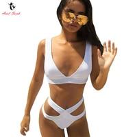 Ariel Sarah Brand Sexy Swimwear Women Swimsuit Solid Bikini Set Padded Cross Bandage Pants Bathing Suit