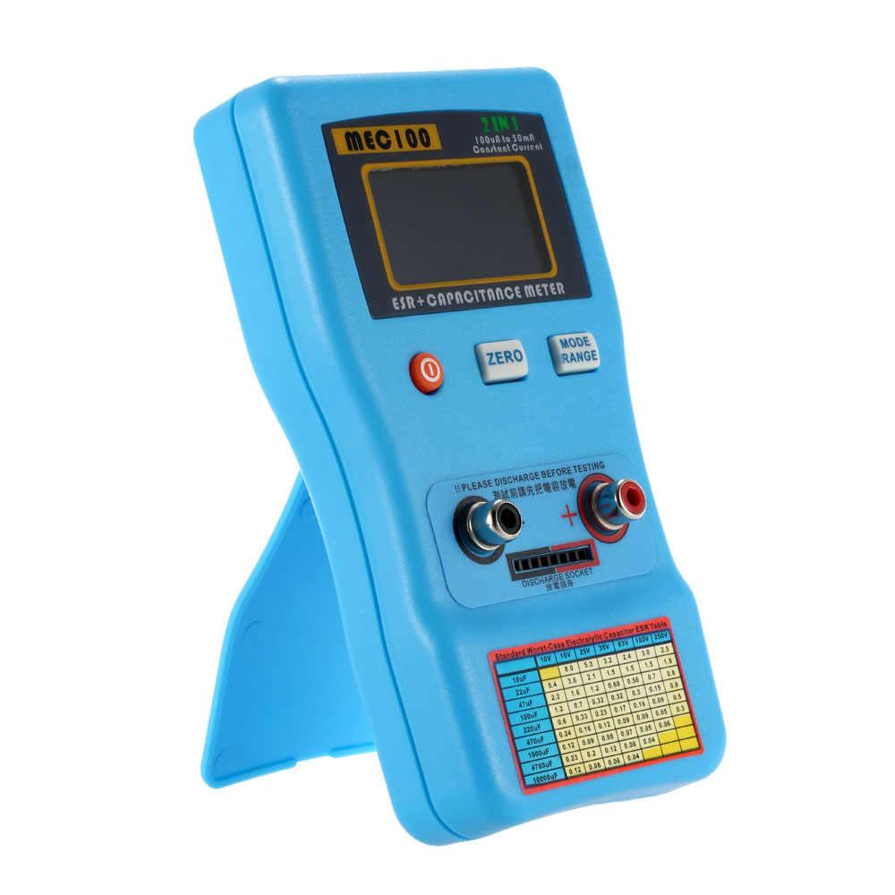 2 w 1 cyfrowy Auto zakrojone kondensator ESR miernik jakości pojemność Tester pomiaru rezystancji wewnętrznej z SMD Test klipy