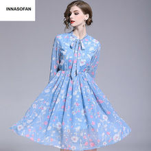 92bb4b89211b8 Kızlar için şifon elbise kadın İlkbahar-yaz elbisesi yüksek bel Euro-Amerikan  moda zarif elbise ile çiçek baskı