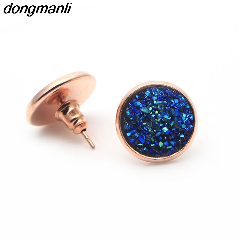 P532 dongmanli 2017 The New fashion Boho jewelry Rose Gold Artificial druzy Stud Earrings for Women Size 12mm Dropshipping