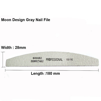 5Pcs/Lot Nail File 100/180 Sanding Buffer Block Pedicure Manicure Buffing Polish Beauty Tools Professional Nail Files Grey Boat 1