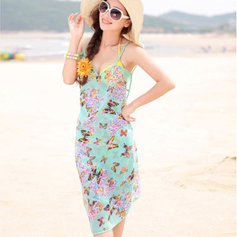 Women Beach Dress Swimwear Sexy Sling Beach Wear Dress Sarong Bikini Cover-ups Wrap Pareo Skirts Towel Flower Open-Back Swimsuit 11