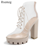 Rxemzg 2019 summer transparent sexy ankle boots square heel waterproof platform shoes high heels lace up nude boots big size 41
