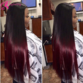 7A Free Shipping Ombre Full Lace Wigs Human Hair Glueless Lace Front Wig Silky Straight Brazilian Two Tone#1b/Burgundy Lace Wig
