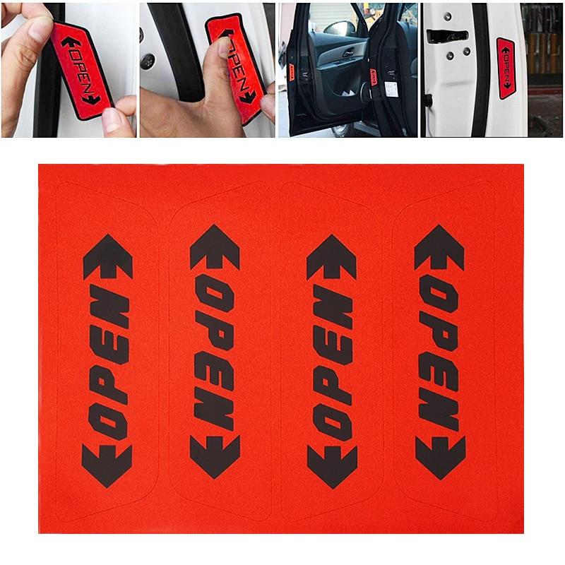 4шт/комплект светоотражающие открыть дверь открытой предупреждение безопасности стикер автомобилей стайлинг автомобиля наклейка авто Декор