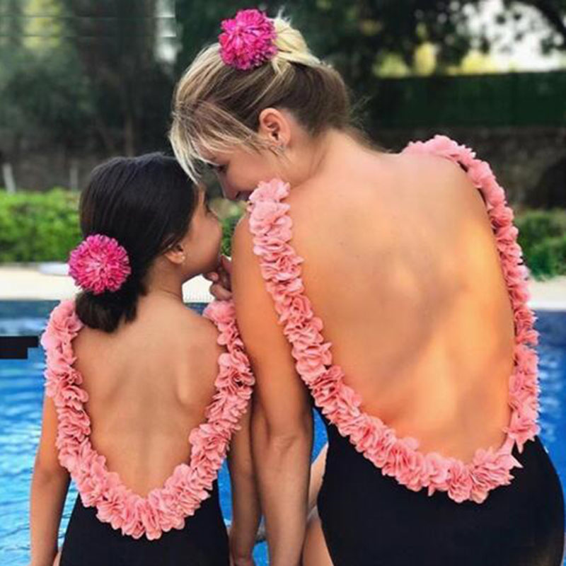 Mother Girl Flowers Swimsuit For Mom And Daughter Swimsuits Matching Family Bathing Suits Female Children Baby Kid Swimwear