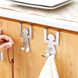 2Pcs /Set Stainless Steel Storage Holder Rack Hook Hanger Durable Strong Lovers Shaped Hooks Kitchen Bathroom Clothes Tool