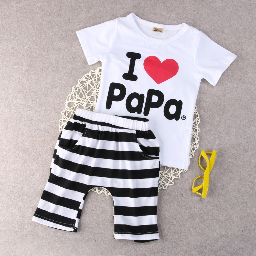 Retail-1set-2015-Children-Clothing-Summer-Set-boys-girls-I-Love-Papa-and-Mama-short-sleeve-t-shirtpants-suit-kids-pajamas-set-4
