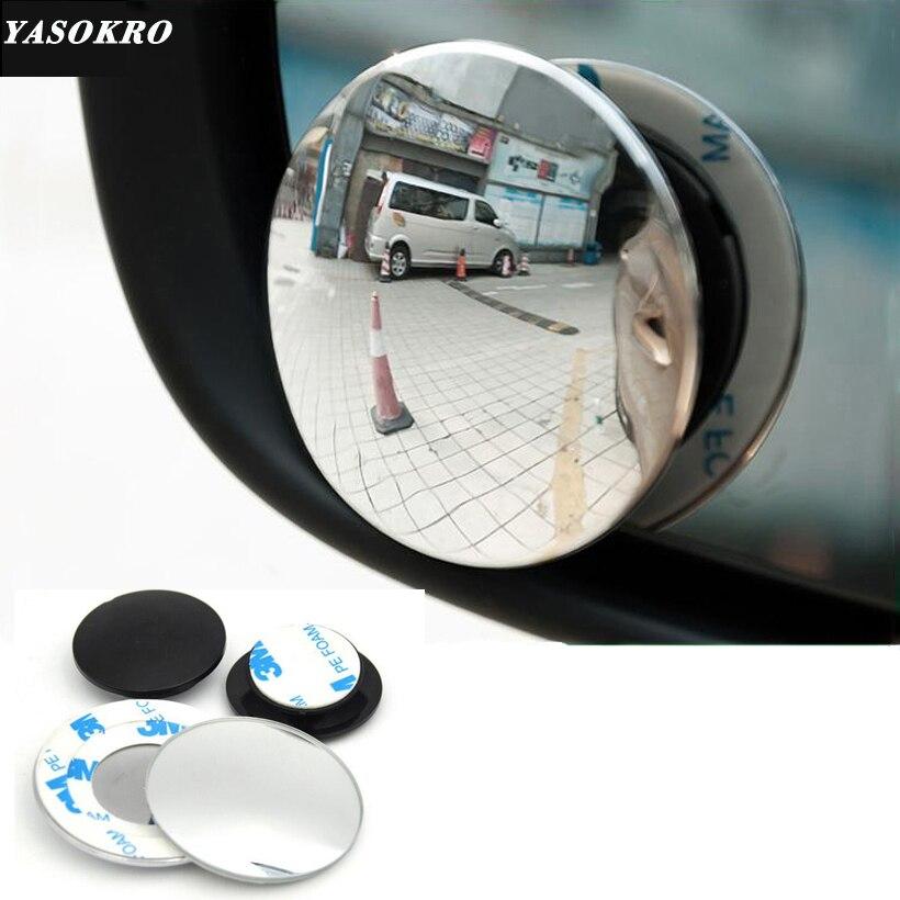 1 paire 360 degrés sans cadre ultra-mince grand Angle rond convexe Angle mort miroir pour parking rétroviseur de haute qualité