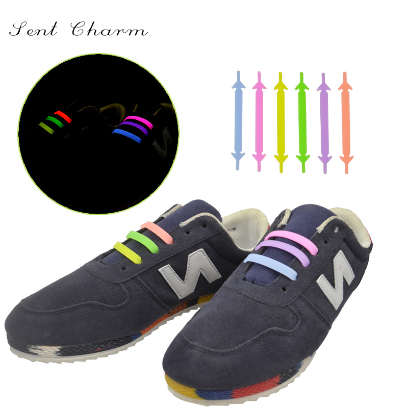 SENTCHARM Elastic Luminous Lazy Shoelace No Tie Silicone Shoe laces For Climbing Running Sneakers Novelty Fit Strap As Gift