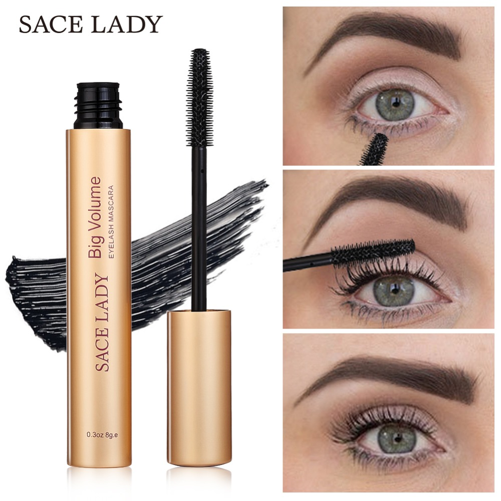 SACE LADY Mascara aplauzums Brand Curling Thick melnās acu skropstas Rimel Professional Make Up tilpums Natural Eyashash Cosmetic