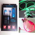 10pcs Hot Sale Led Earphones Luminous LED Lights Sport Stereo In ear Glow led Headphones Earbud with Mic for iphone/Samsung