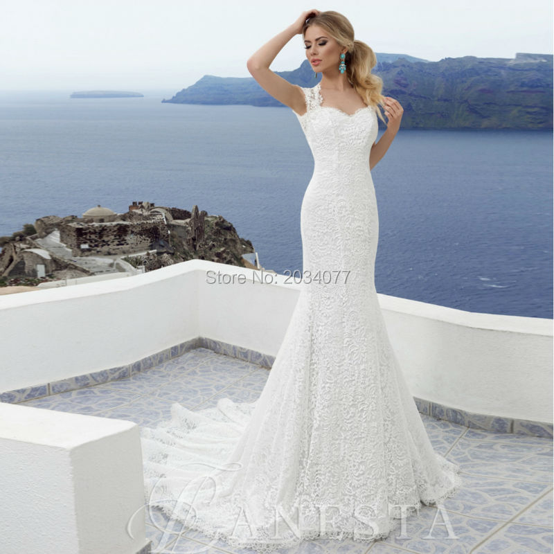 Simple Lace Wedding Dress Cheap Informal Bride Dress Half: Summer Cheap Ivory Lace Wedding Dress Mermaid Backless