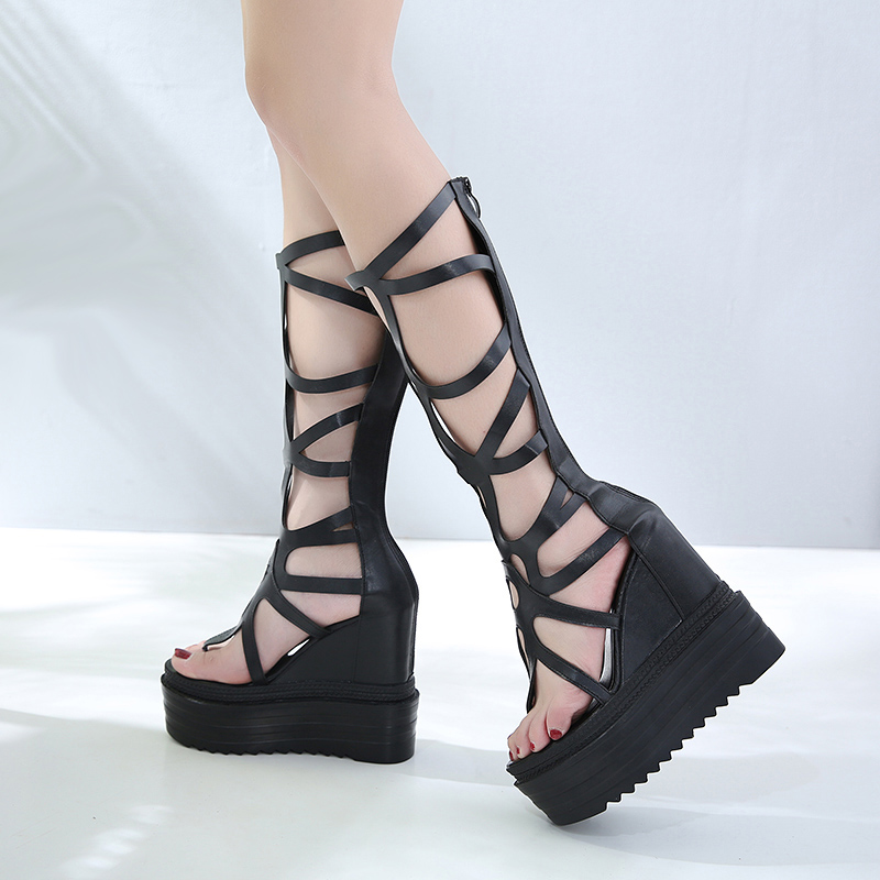 Women Shoes Wedge Platform Sandals Knee High Roman Sandals Open Toe High Heels Black Wedges Sandals High Heel Platform Shoes boldees chic women open toe wedge sandals awesome purple suede dress shoes super high platform nighclub sandals hot plus size43