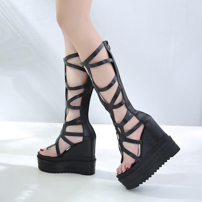 Mujer Abierto Wedge Zapatos Plataforma Sandalias Romanas qUzVSpMG