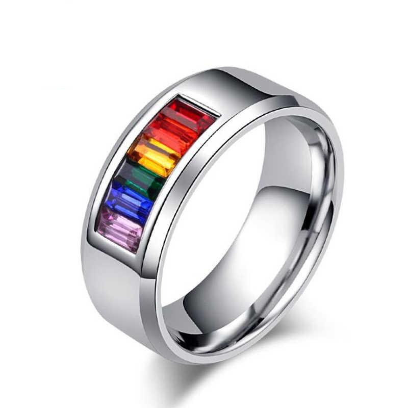 Gökkuşağı Halka Lezbiyen Gay Pride Yüzük Paslanmaz Çelik Kadın Erkek Promise Takı Hediyeler moda takı Anillo de la joyeria