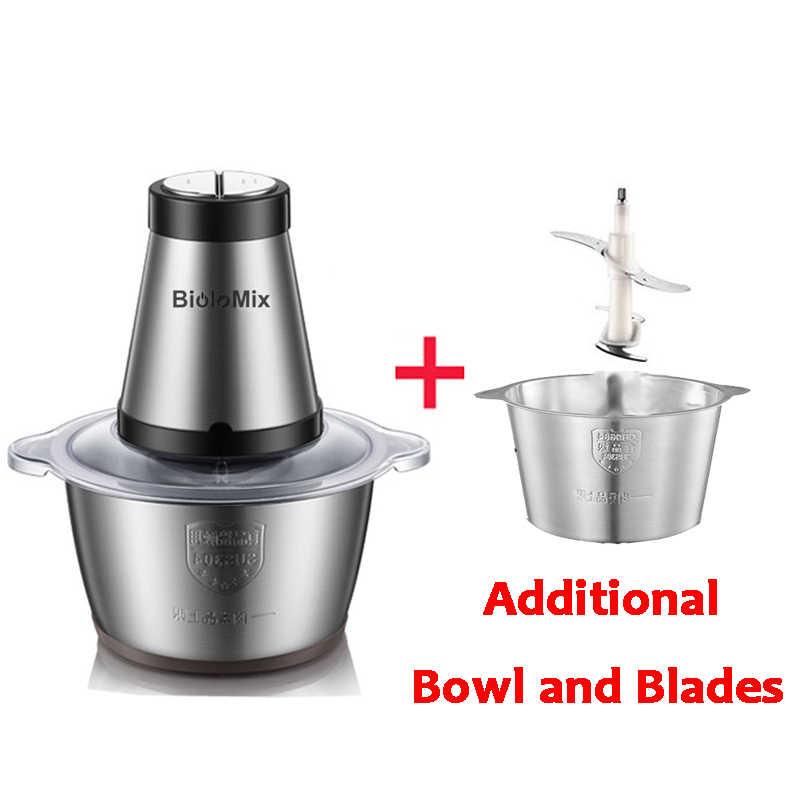 Alto Basso 2 Velocità 500W In acciaio inox 2L Automatico Meat Grinder Mincer Chopper Robot da Cucina