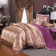 Liv-Esthete Luxury Satin Jacquard European Bedding Set Lace Side Duvet Cover Purple Flat Sheet Queen King Bed Linen For Adult