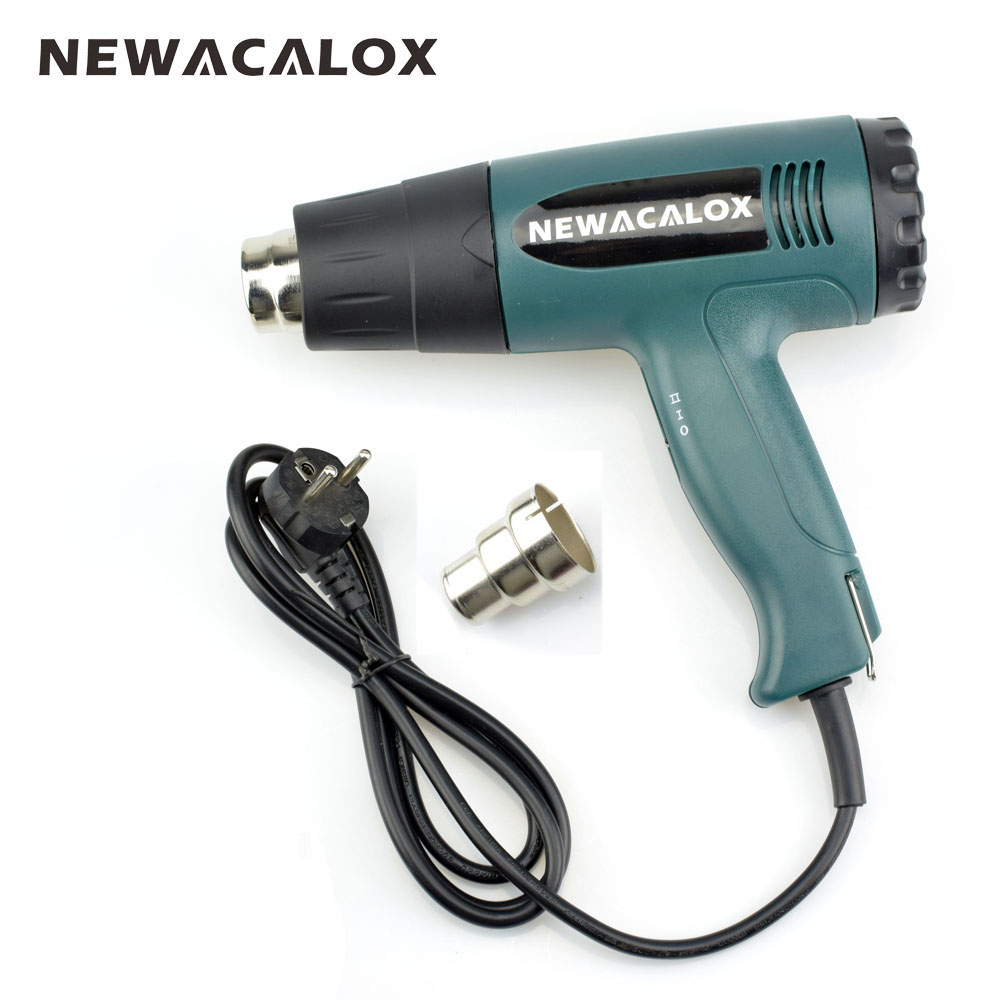 NEWACALOX 1800W 220V EU Plug Heat Gun Temperature-controlled Industrial Electric Hot Air Gun Shrink Wrapping Thermal Power Tool newacalox industrial 150w eu plug hot melt glue gun with 1pc 11mm stick heat temperature tool guns thermo gluegun repair tools