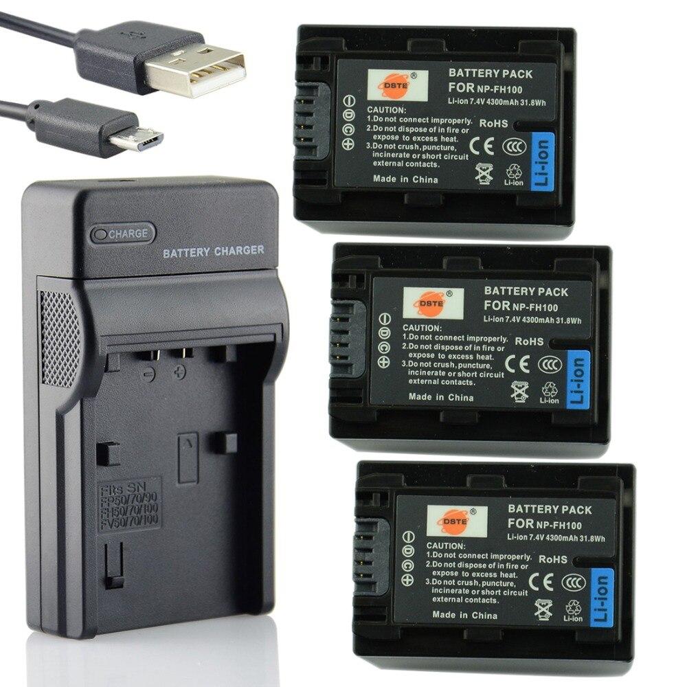 DSTE 3PCS NP-FH100 Li-ion Battery + UDC04 USB Port Charger for Sony XR100E 200E 500E 520E UX5E 7E SR10E 11E 12E Camera 3 7v 1450mah np bx1 compatible li ion camera battery for sony
