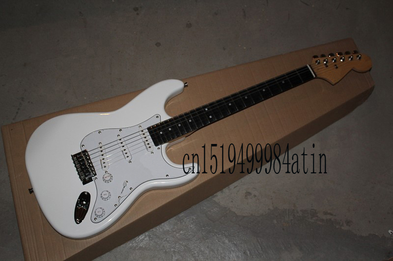 Free shipping 2017 Guitar Factory F Stratocaster White Custom Shop Electric Guitar Ebony Fingerboard @14