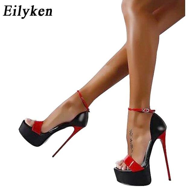 16c1f8831 Eilyken Senhoras 16 centímetros de Salto Mulheres Bombas Verão Sandálias  Mulheres Sexy Bombas Partido Sapatos de