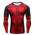 Deadpool divertido 3D Camisetas Impresas Hombres Cosplay Pantalla Camisa de Manga Larga de Compresión Ropa Fit Tops Masculinos