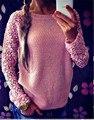 Новая коллекция весна осень мода 2016 с длинным рукавом кружева лоскутное свободного покроя пуловер дамы свитера Большой размер S-XXXXXL W227