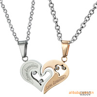 OPK COUPLE JEWELRY Love Heart Pendants Necklace For Lover Inlaid Rhinestone CZ Rose Gold 316L Stainless