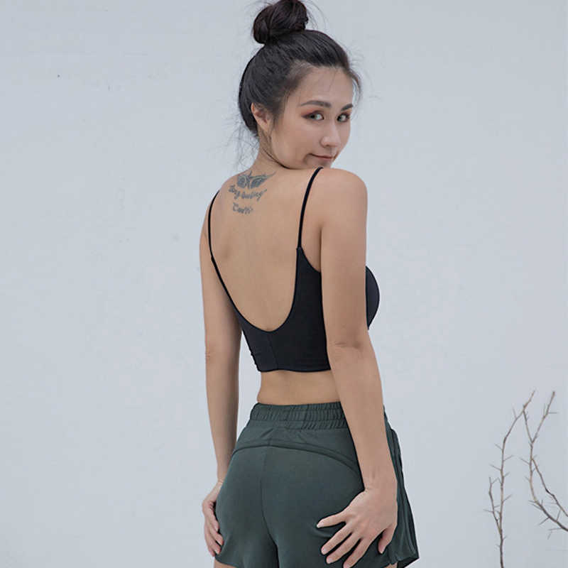 829ca6dc7c Sexy Scoop Back Fitness Sports Bra Women Padded Ballet Yoga Sports Top  Solid Color Thin Strap