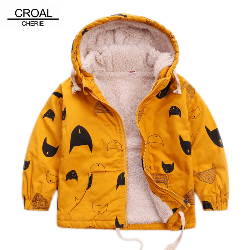 CROAL CHERIE 80-120cm Cute Printing Fish Fleece Kids Winter Jacket Boys Outerwear Clothing Girls Coats Velvet Baby Outerwear