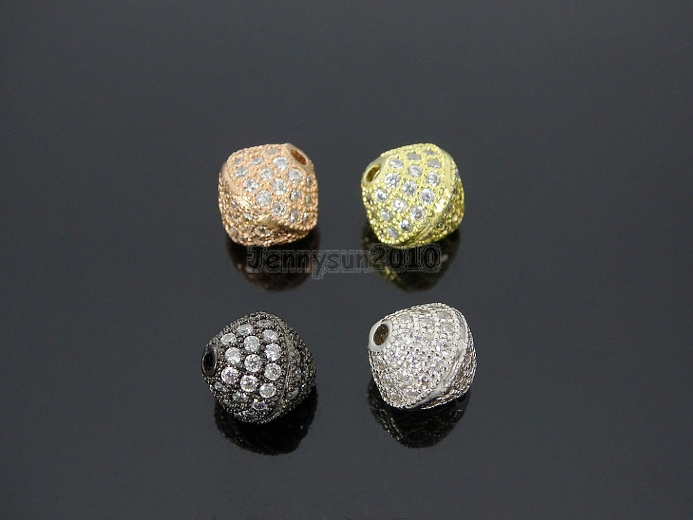 Spirited Clear Zircon Gems Stones Pave Bicone 10mm Bracelet Connector Charm Beads Silver Gold Rose Gold Gunmetal 10pcs/pack Beads