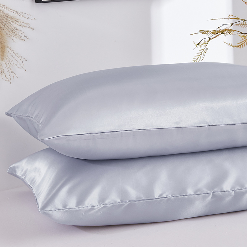 2PCS Satin Silk Pillowcase Black White Solid Color Satin Imitated Silk Pillow Cover US Twin Queen King Size Pillowcase Dropship