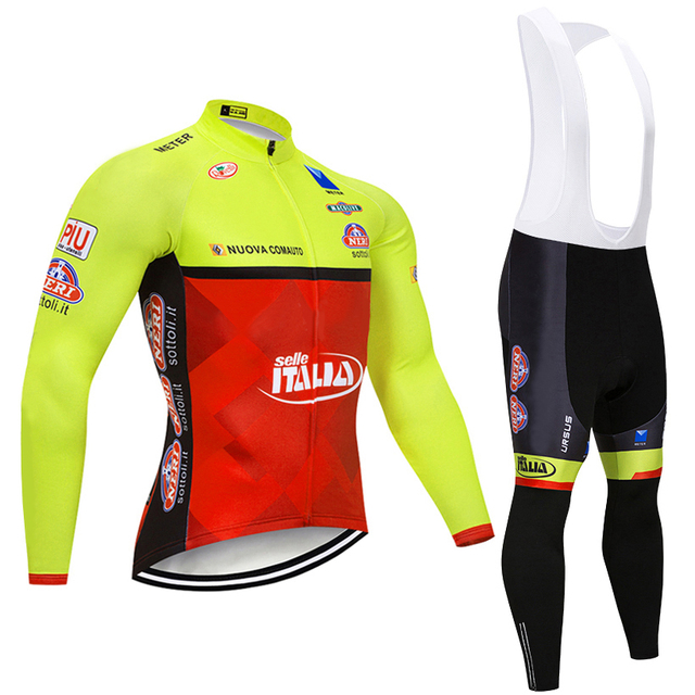 0963bb927 2019 Winter YELLOW ITALIA TEAM Long Cycling JERSEY Bike Pants mens Ropa  Ciclismo Thermal fleece bicycling Maillot Culotte wear