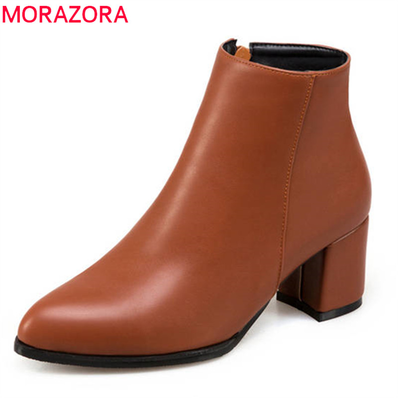 цена на MORAZORA 2018 new fashion shoes woman pointed toe ankle boots for women simple zipper causal ladies shoes high heels boots