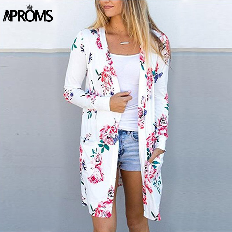Aproms Cute Floral Print Basic Cardigan Coat Women Plus Size Open Stitch Jacket Streetwear Fashion 2018 Coats Female Outerwear