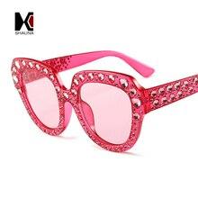 SHAUNA Luxury Heart-shaped Crystal Women Sunglasses Brand Designer Oversize Sun Glasses UV400